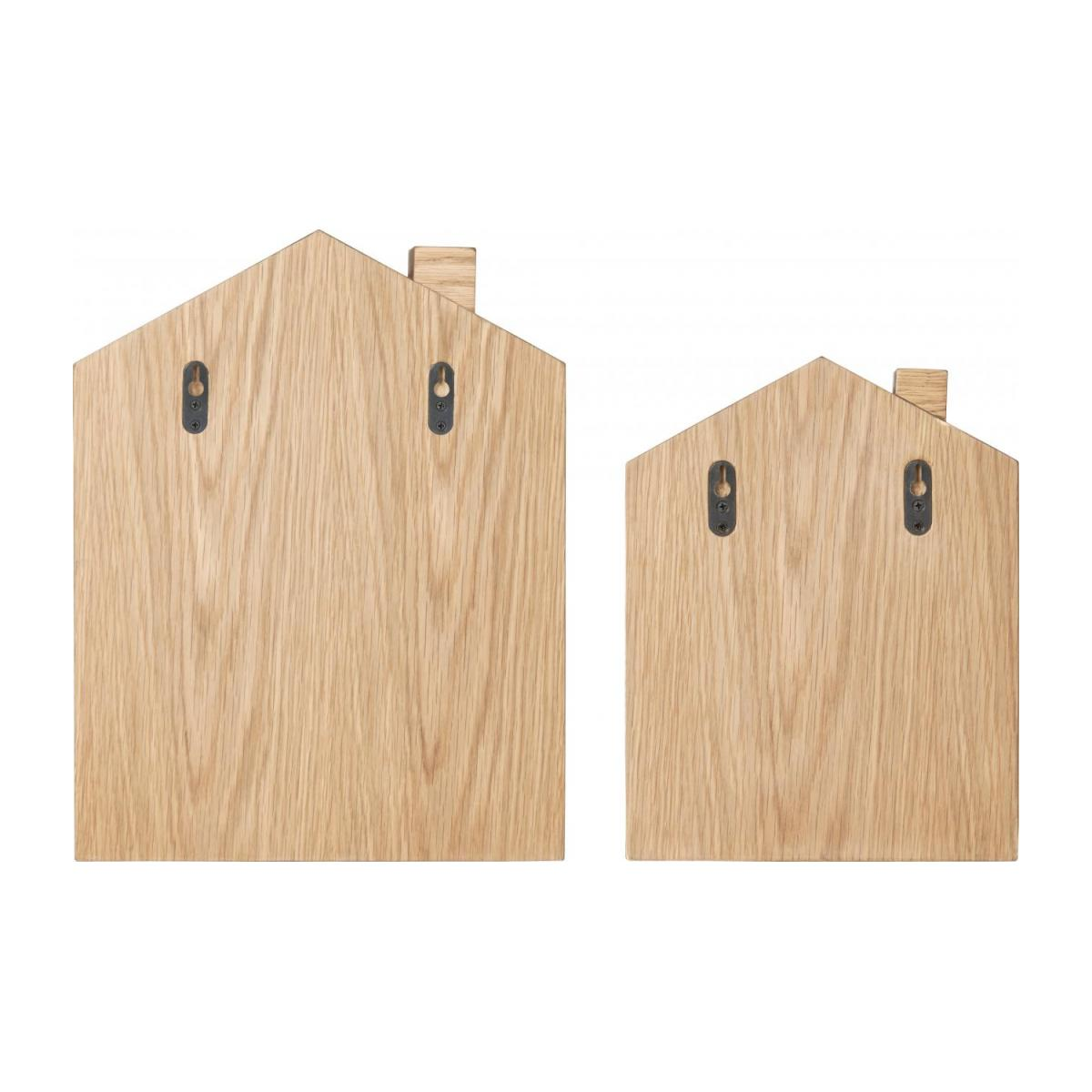 Set of 2 shelves made of oak, natural, grey-blue and yellow n°7