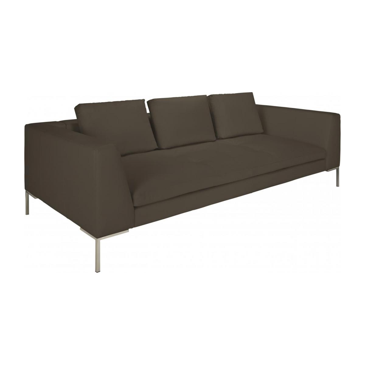 3 seater sofa in Eton veined leather, stone n°1