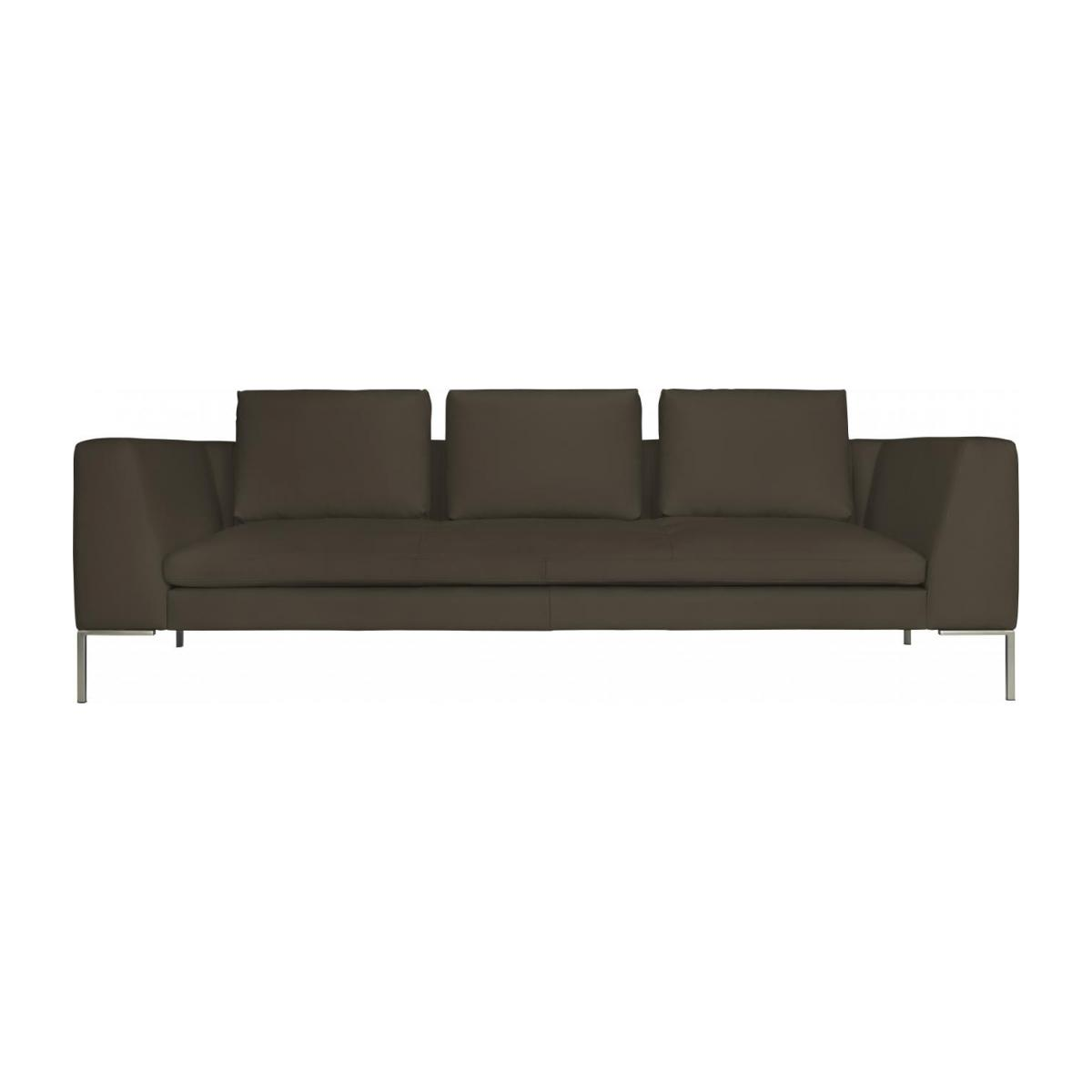 3 seater sofa in Eton veined leather, stone n°3
