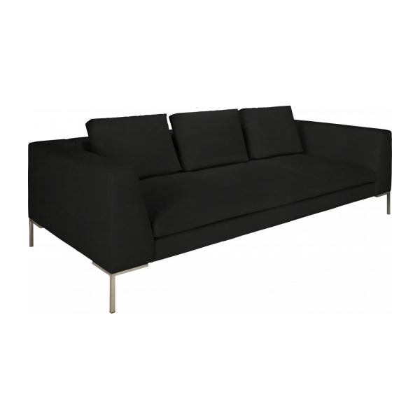 3 seater sofa in Eton veined leather, black n°1