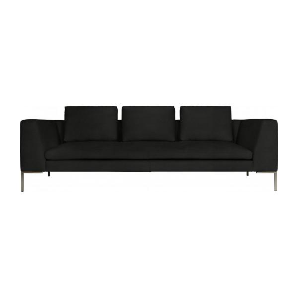 3 seater sofa in Eton veined leather, black n°3