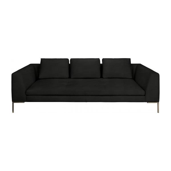 3 seater sofa in Eton veined leather, black n°2