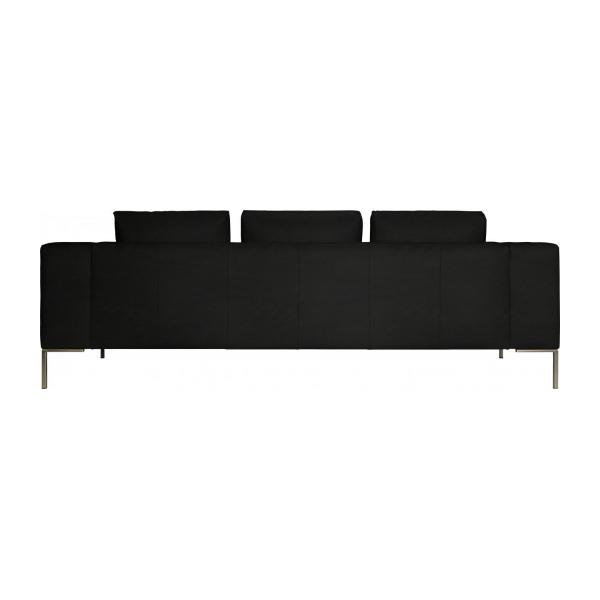 3 seater sofa in Eton veined leather, black n°4