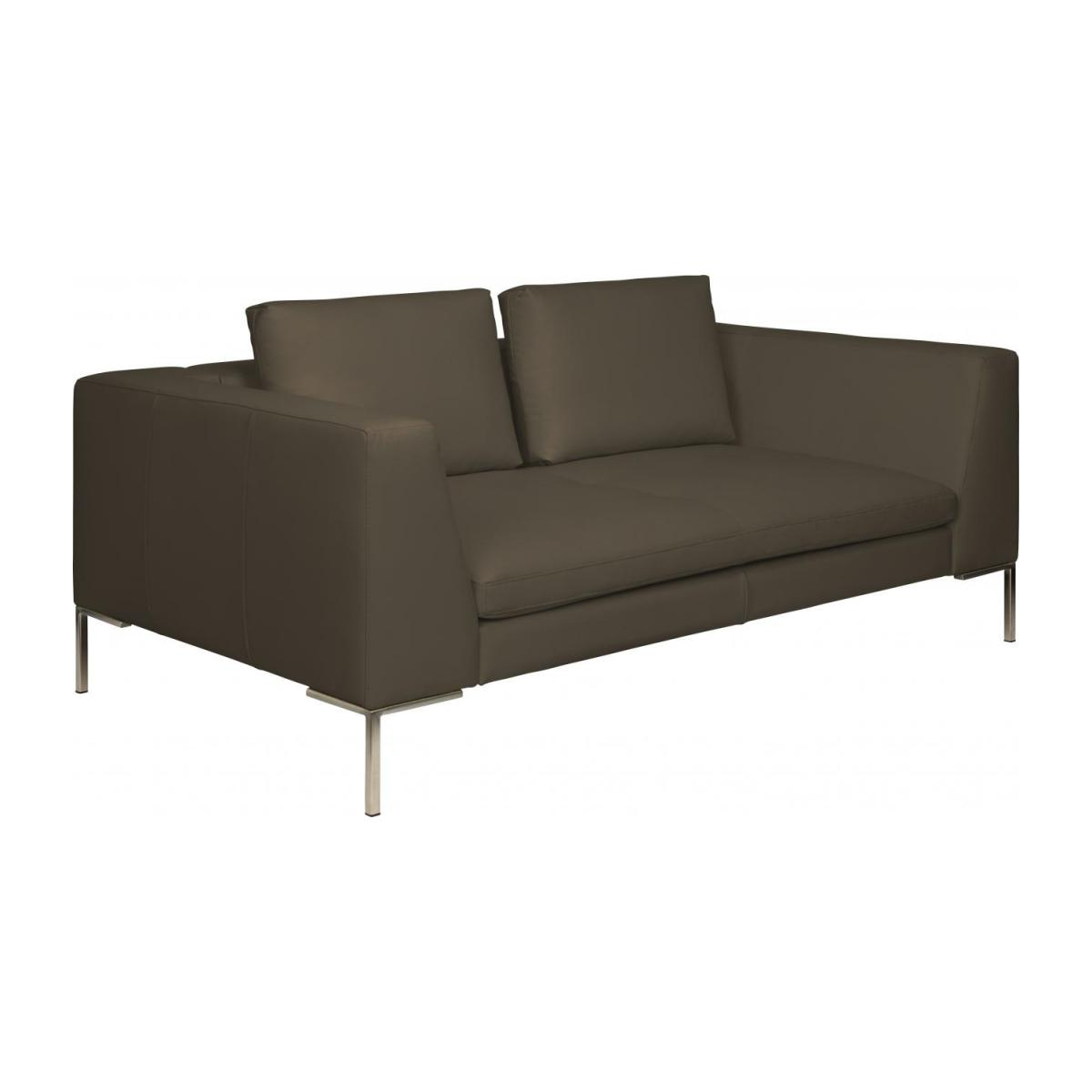 2 seater sofa in Eton veined leather, stone n°1