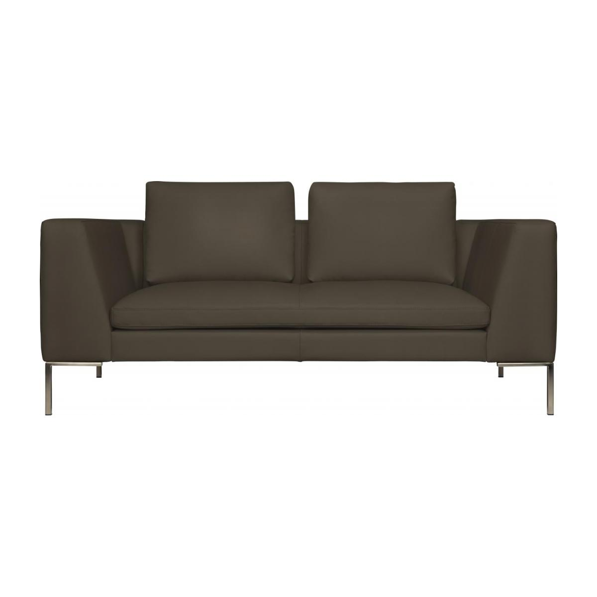 2 seater sofa in Eton veined leather, stone n°4