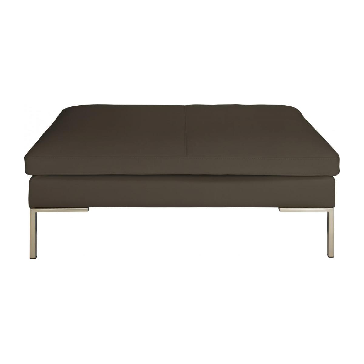 Footstool in Eton veined leather, stone n°2