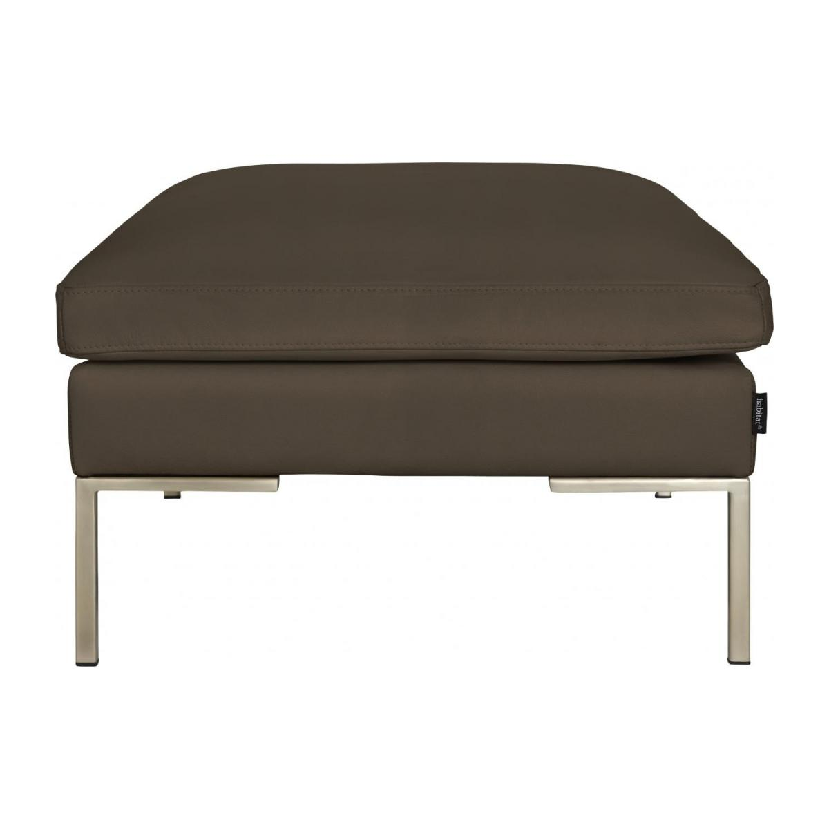 Footstool in Eton veined leather, stone n°4