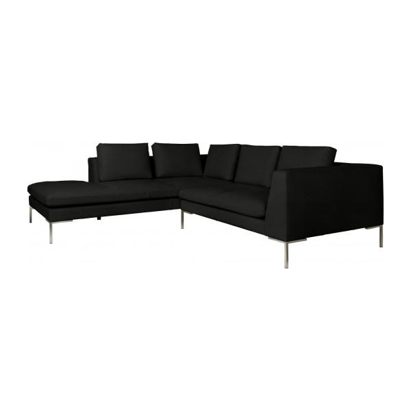 montino canap 2 places en cuir nervur eton black avec m ridienne gauche habitat. Black Bedroom Furniture Sets. Home Design Ideas