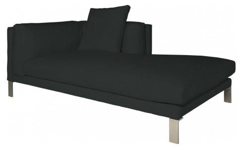 Leather right-arm chaise longue
