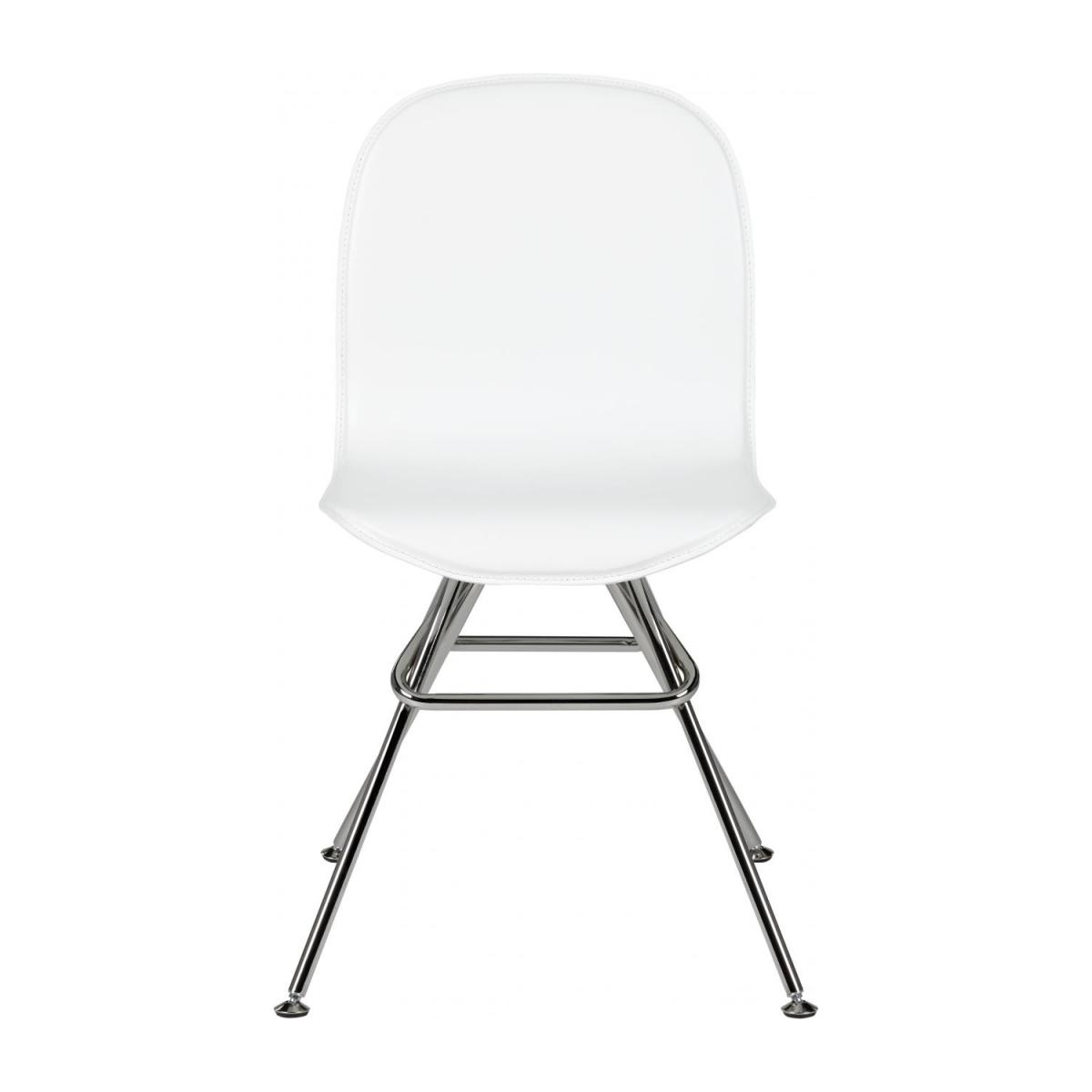 Chair with white faux leather cover and chrome steel legs n°2