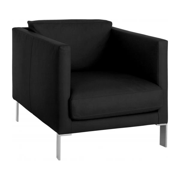 newman fauteuils fauteuil noir cuir habitat. Black Bedroom Furniture Sets. Home Design Ideas
