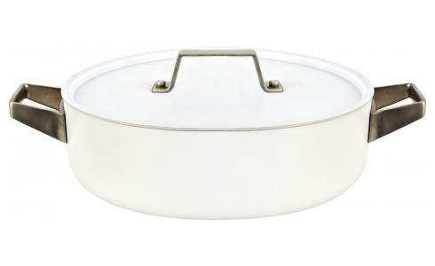 White aluminium saucepan and lid 26 cm with inner coating in ceramic