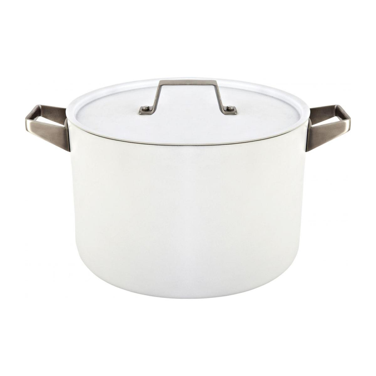 White aluminium pot and lid 26 cm with inner coating in ceramic n°1