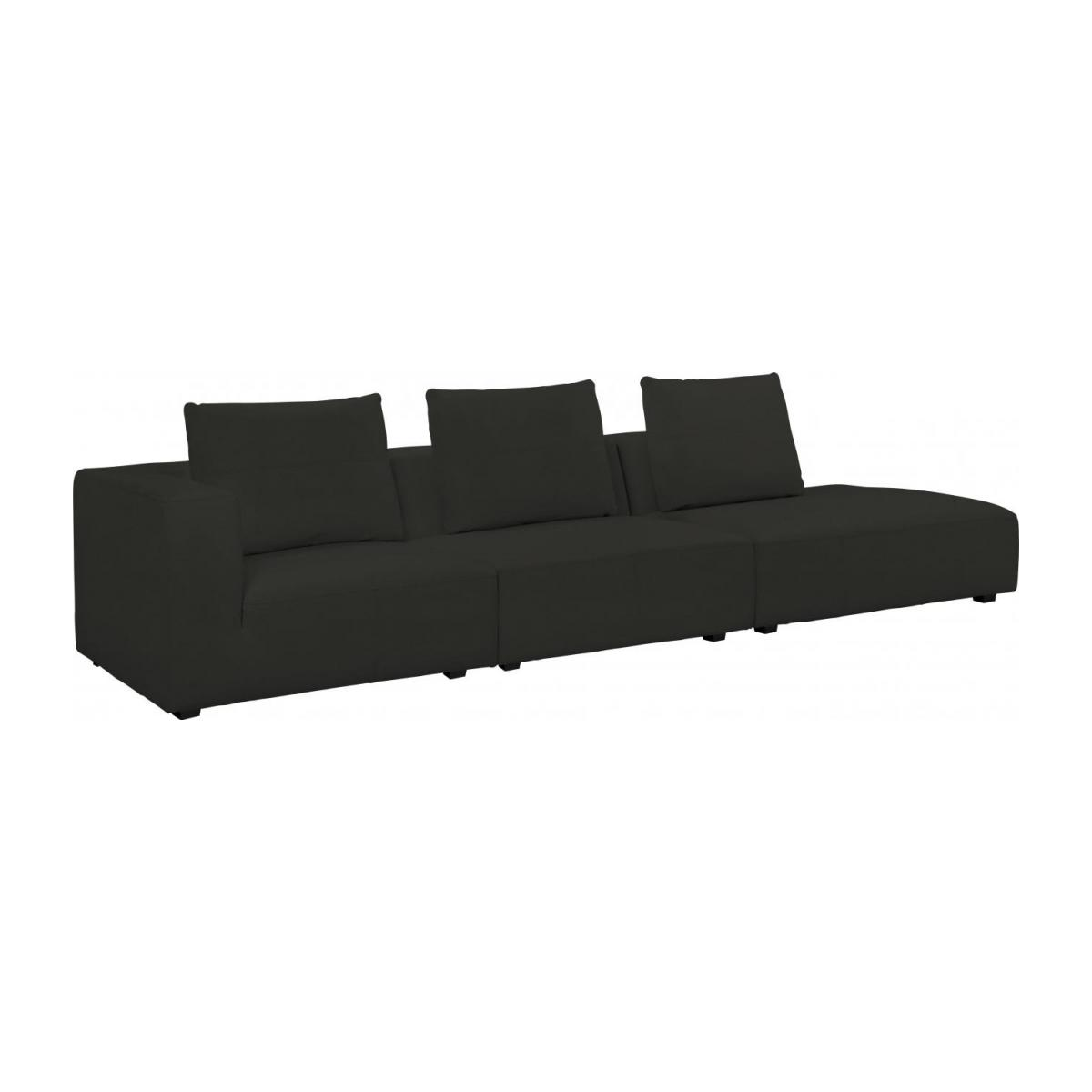 1,5 seater sofa with right armrest in Eton veined leather, brown n°9