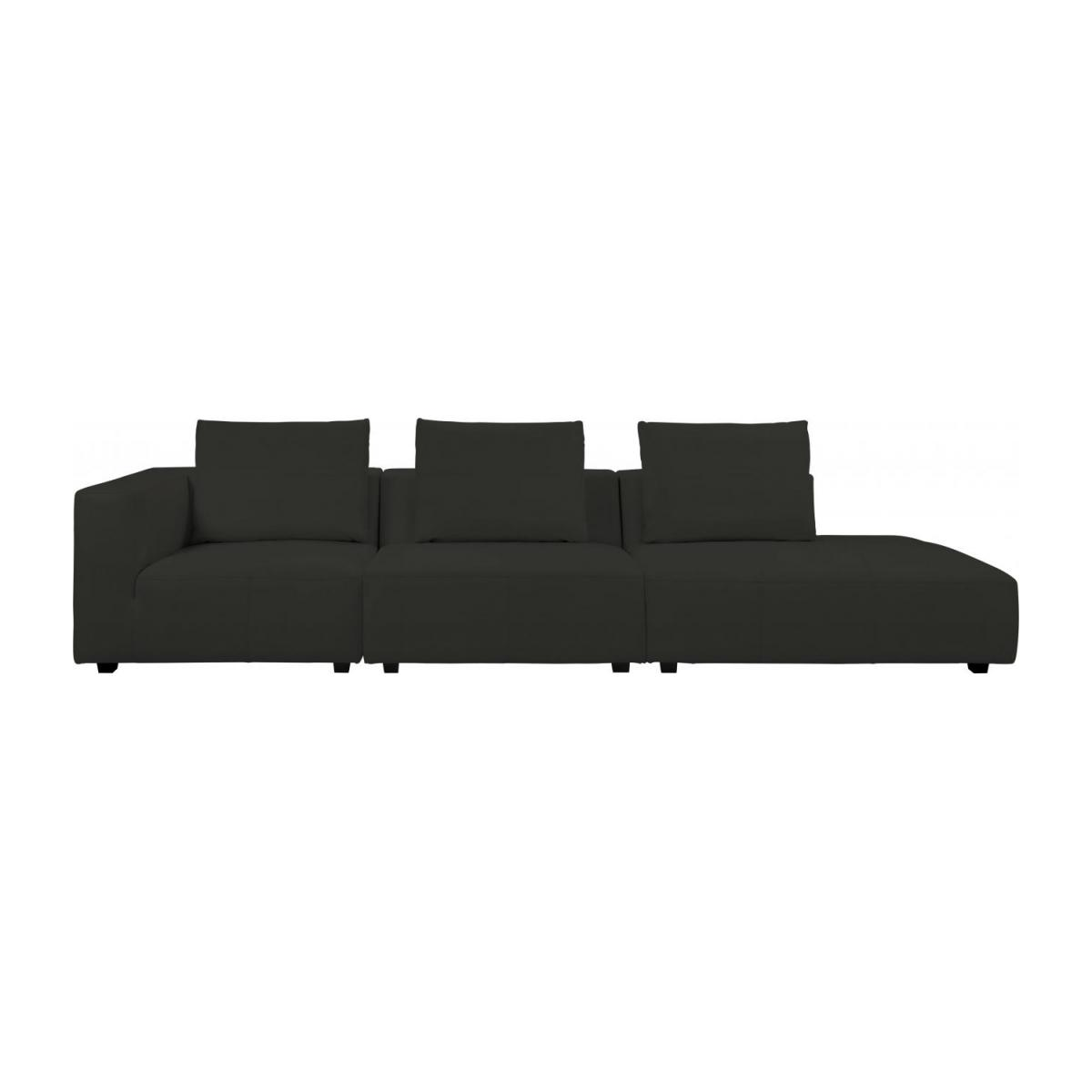 1,5 seater sofa with right armrest in Eton veined leather, brown n°10