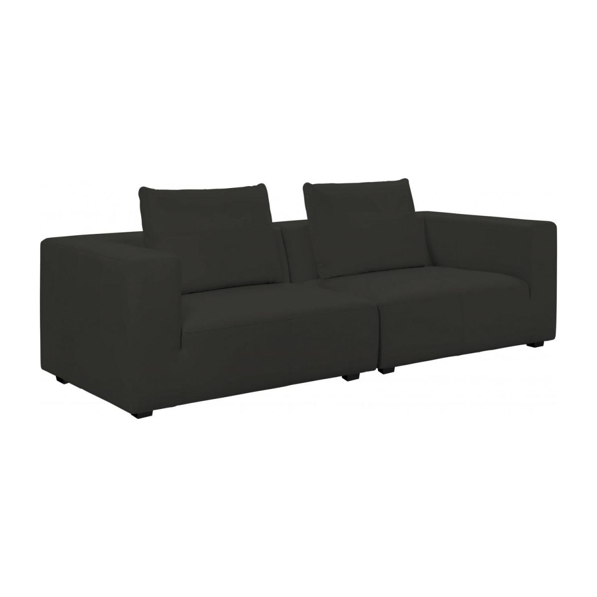 1,5 seater sofa with left armrest in Eton veined leather, brown n°9