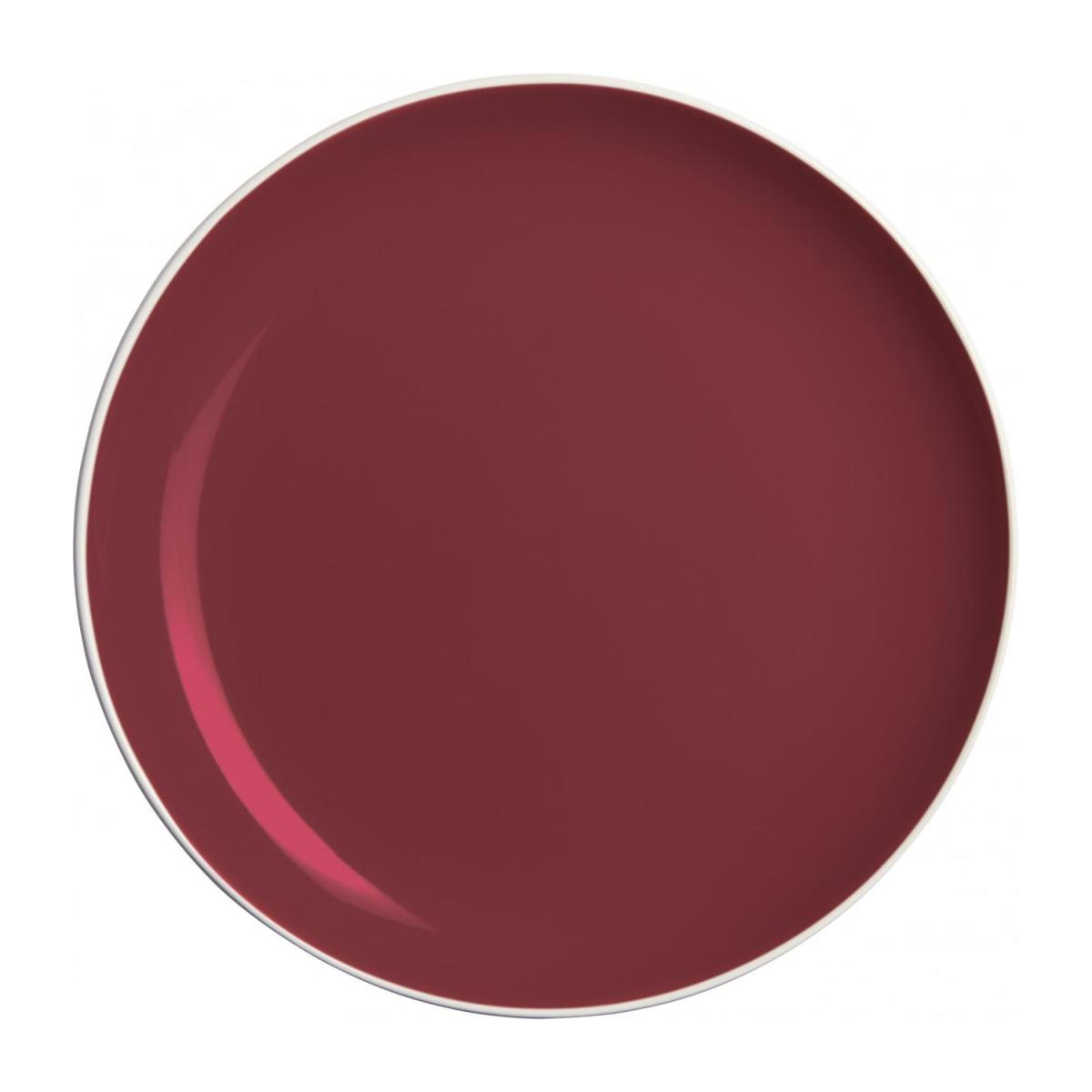 Flat plate made of sandstone, white and burgundy n°1