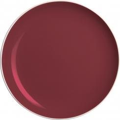 Flat plate made of sandstone, white and burgundy