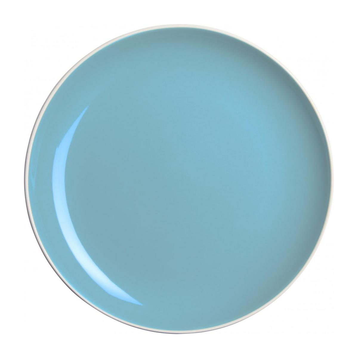 Flat plate made of sandstone, white and light blue n°1