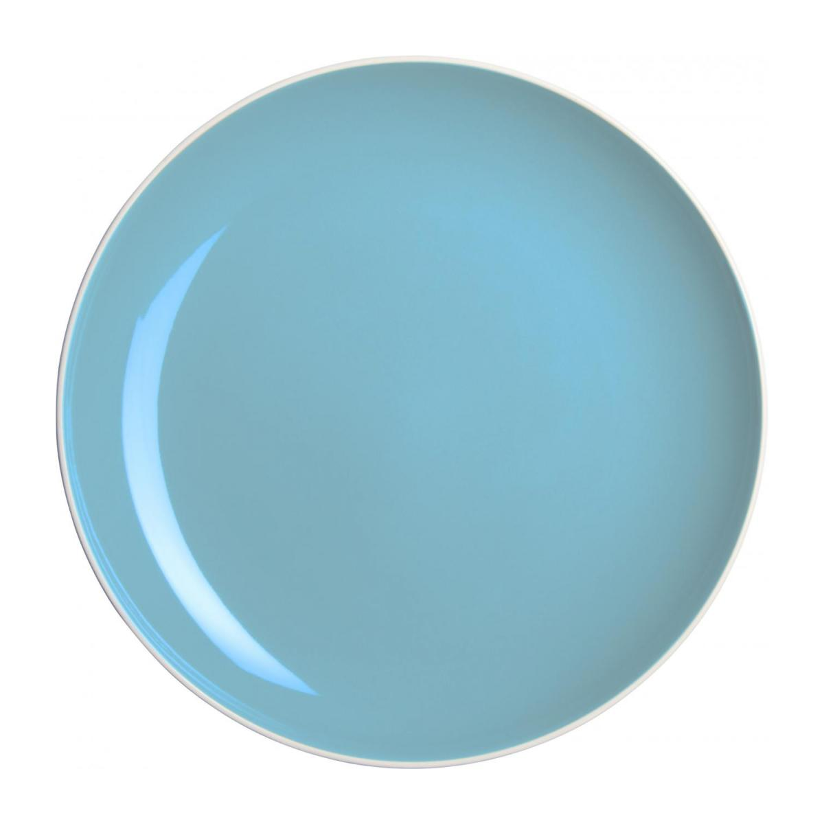 Dessert plate made of sandstone, white and light blue n°1