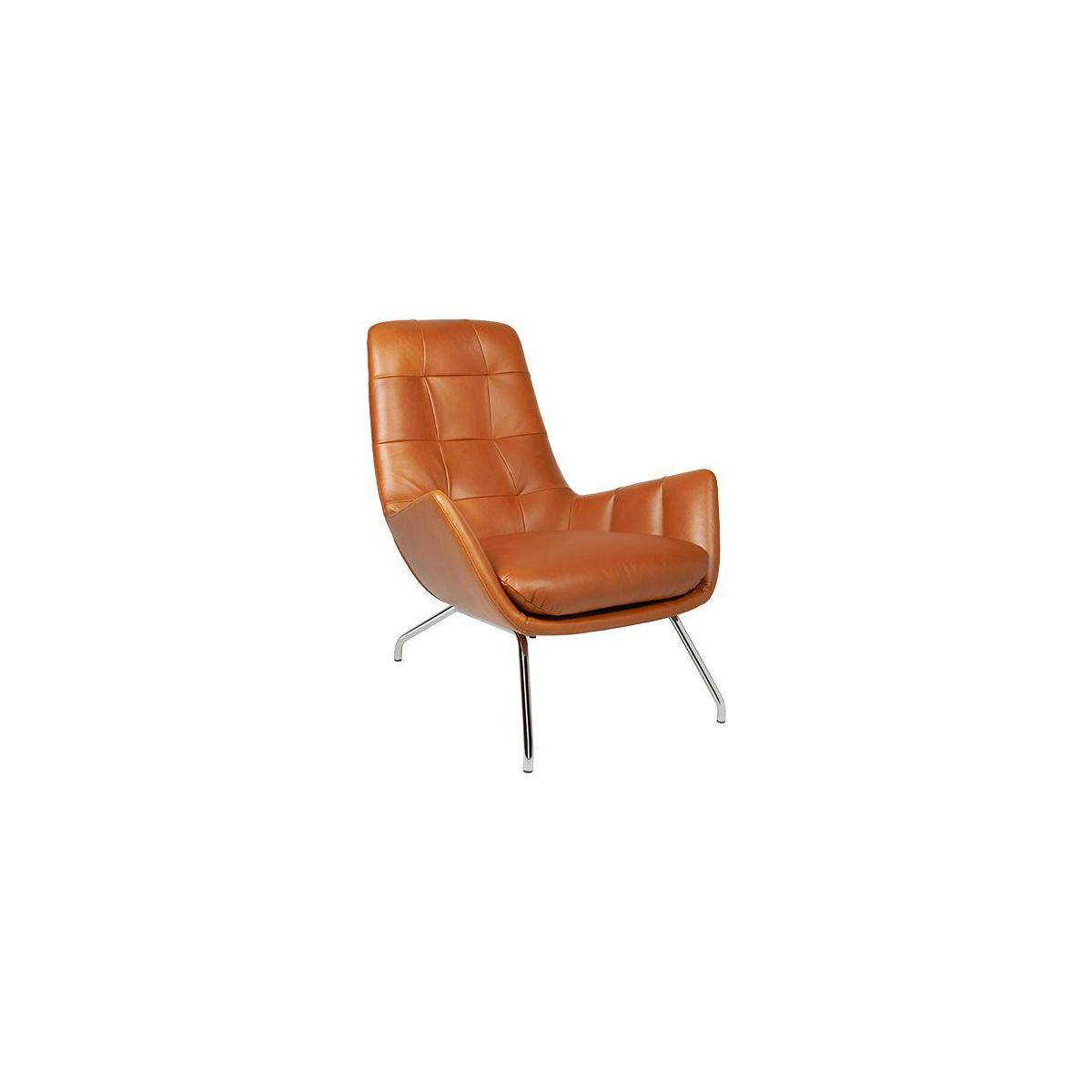 Armchair in Vintage aniline leather, old Chestnut with chromed metal legs n°1