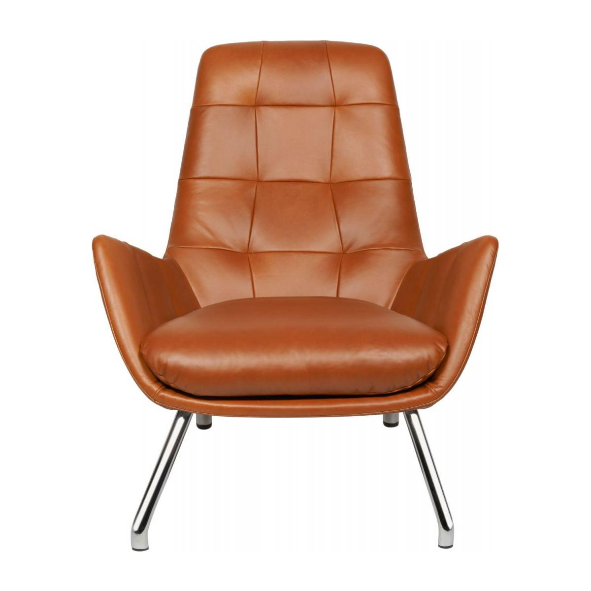 Armchair in Vintage aniline leather, old Chestnut with chromed metal legs n°5
