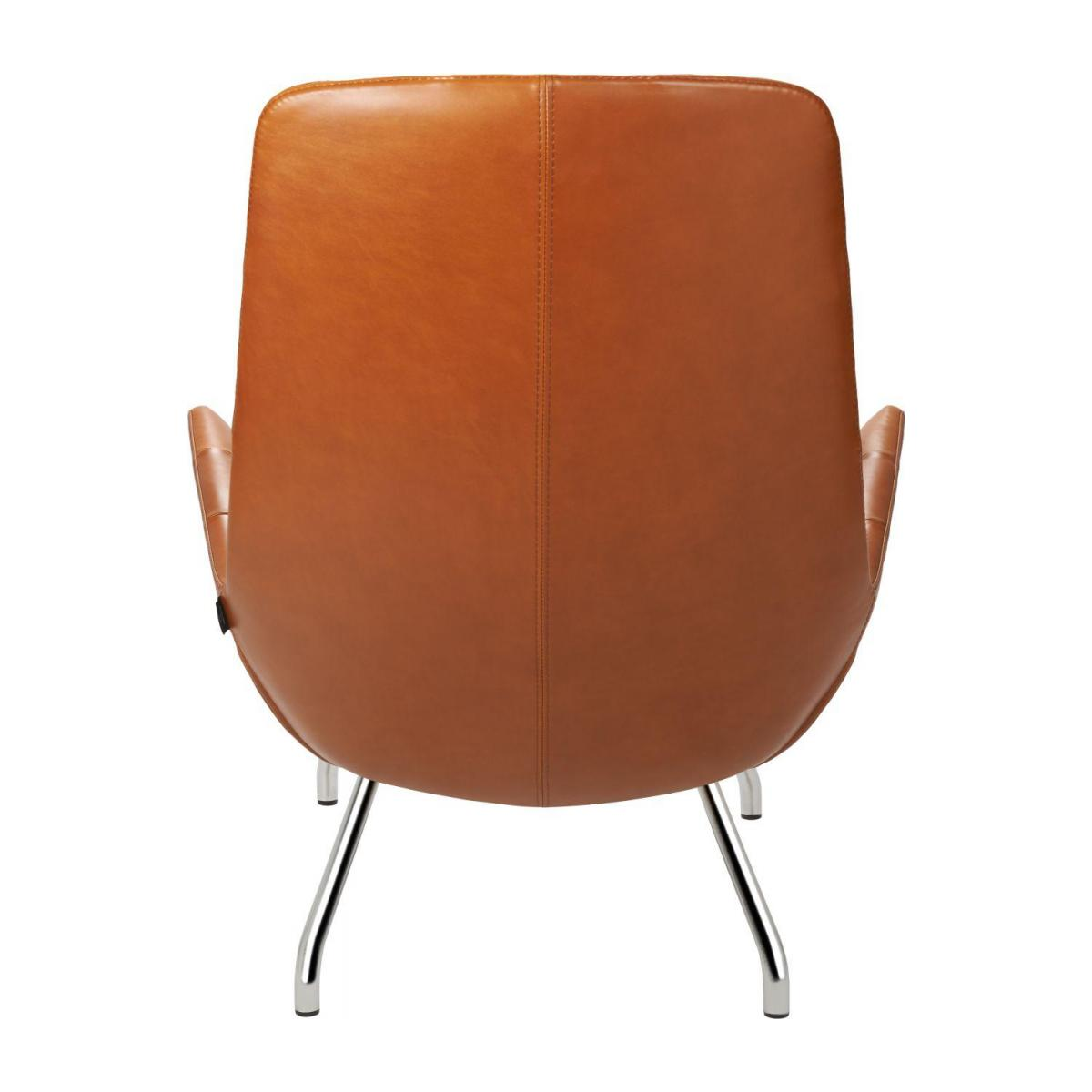 Armchair in Vintage aniline leather, old Chestnut with chromed metal legs n°3