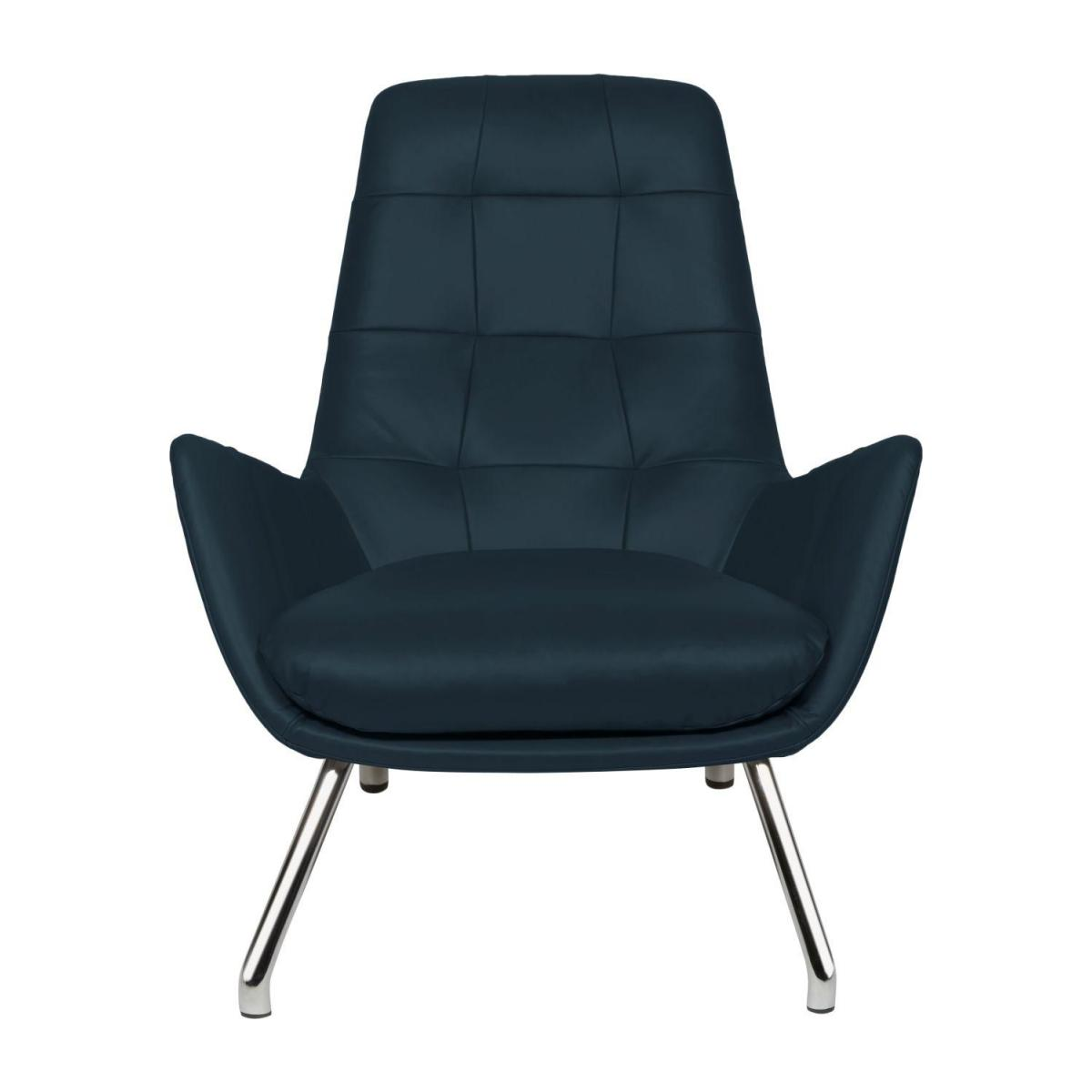 Armchair in Vintage aniline leather, denim blue with chromed metal legs n°5