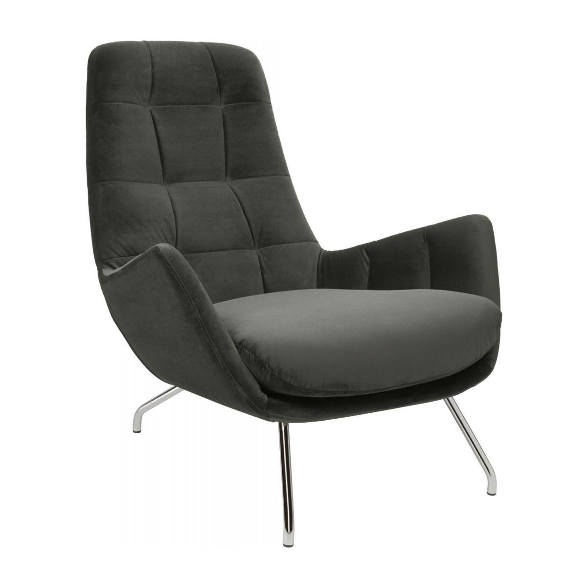 Armchair in Super Velvet fabric, silver grey with chromed metal legs n°1