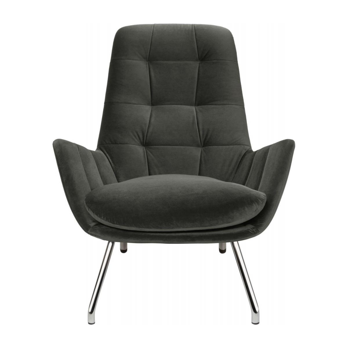 Armchair in Super Velvet fabric, silver grey with chromed metal legs n°5