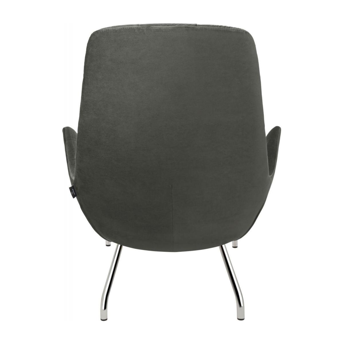 Armchair in Super Velvet fabric, silver grey with chromed metal legs n°4