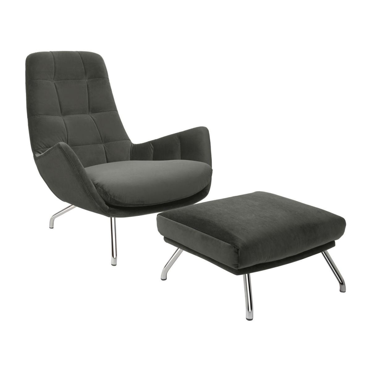 Armchair in Super Velvet fabric, silver grey with chromed metal legs n°2