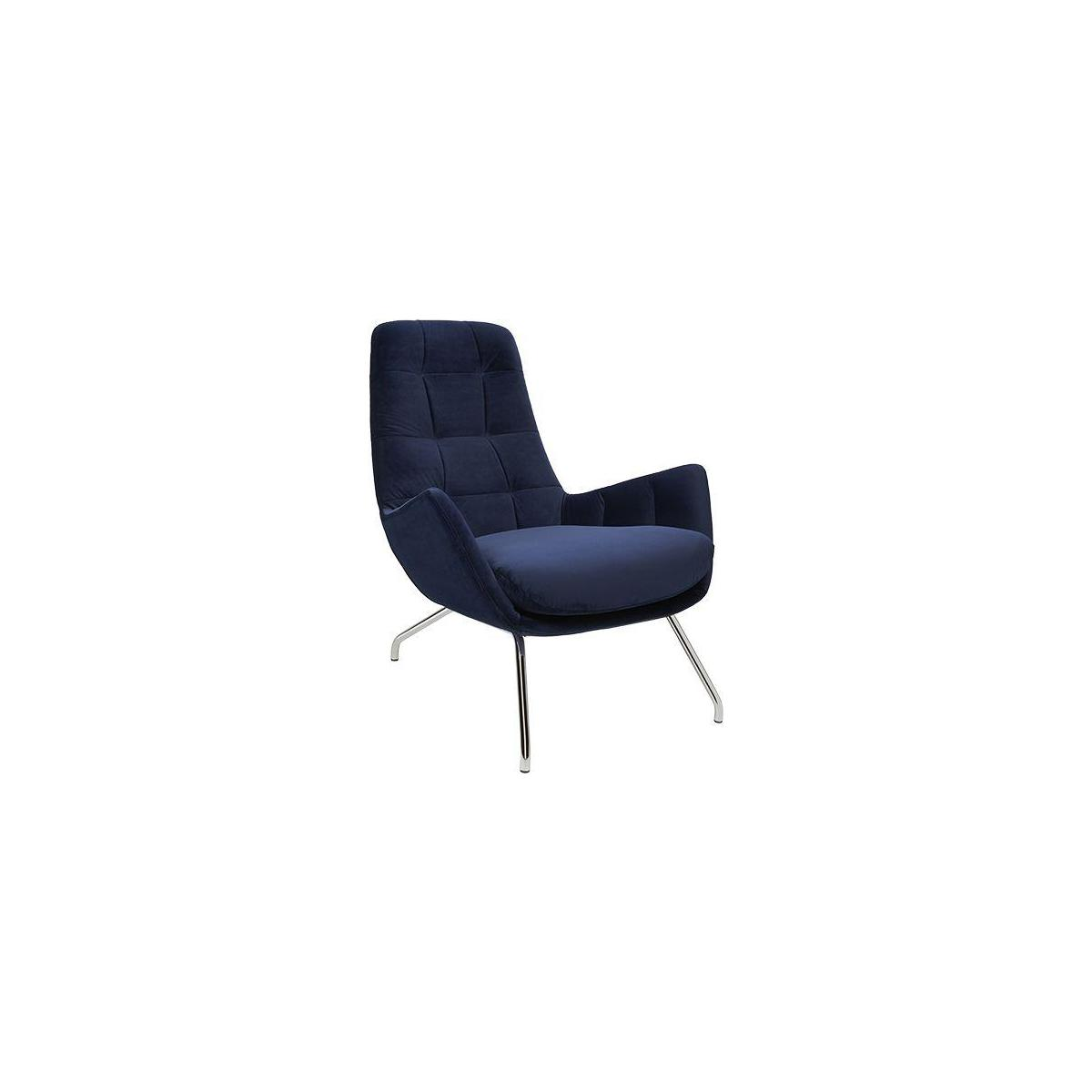 Armchair in Super Velvet fabric, dark blue with chromed metal legs n°1