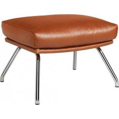Footstool in aniline Vintage Leather, old chestnut with chromed metal legs