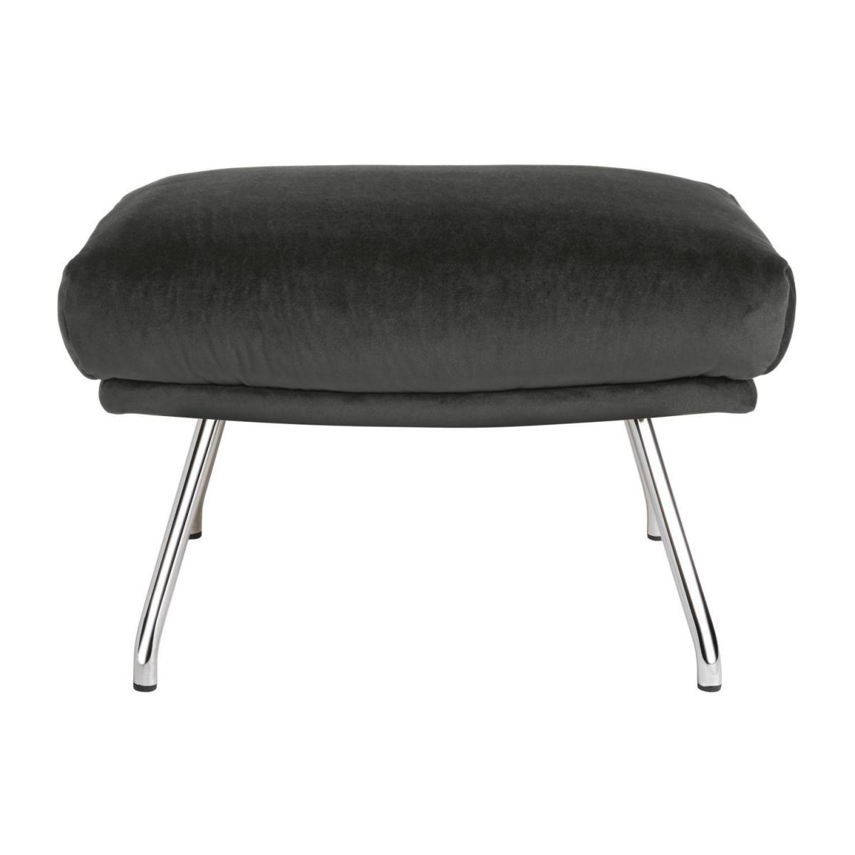 Footstool in Super Velvet fabric, silver grey with chromed metal legs n°2
