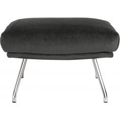 Footstool in Super Velvet fabric, silver grey with chromed metal legs