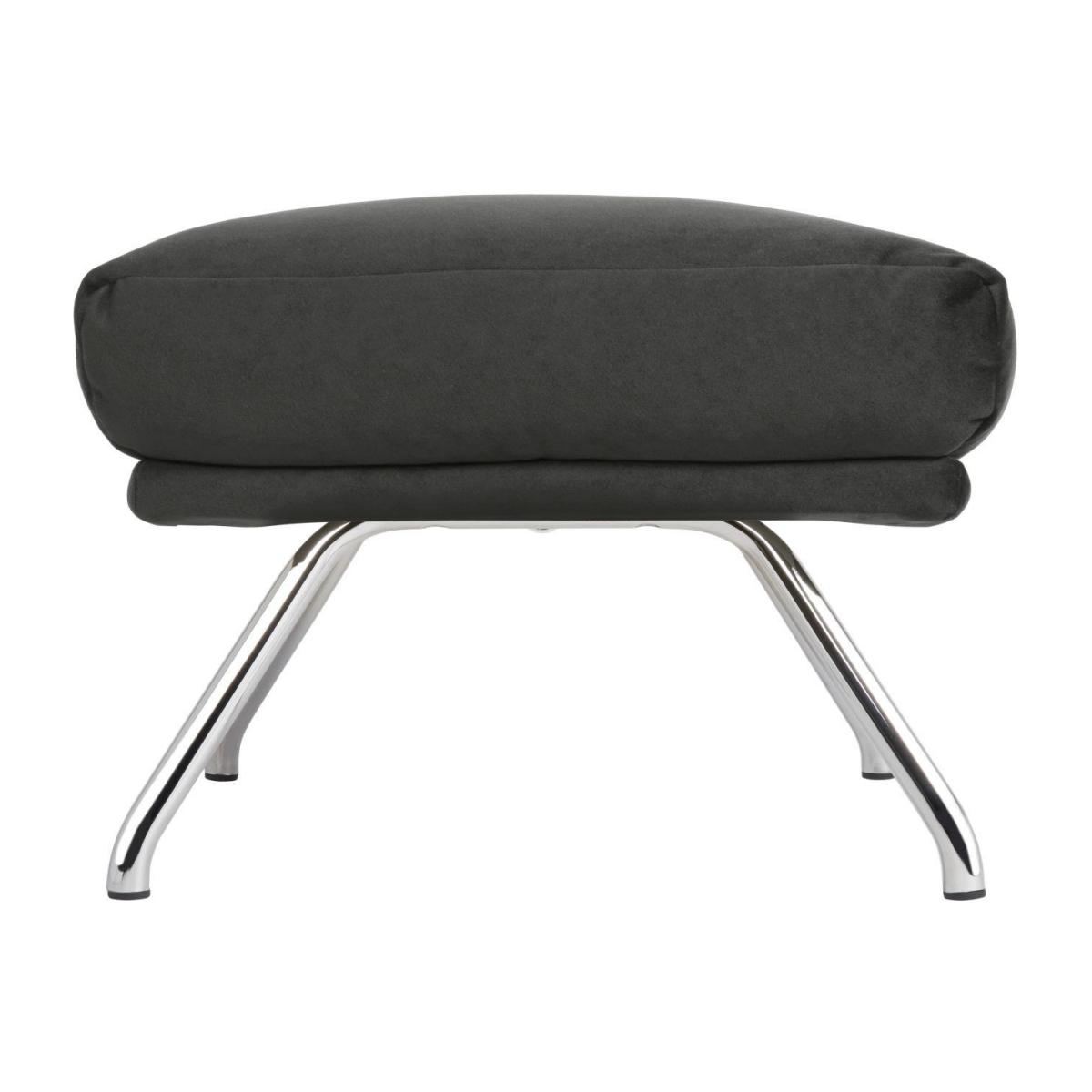 Footstool in Super Velvet fabric, silver grey with chromed metal legs n°3