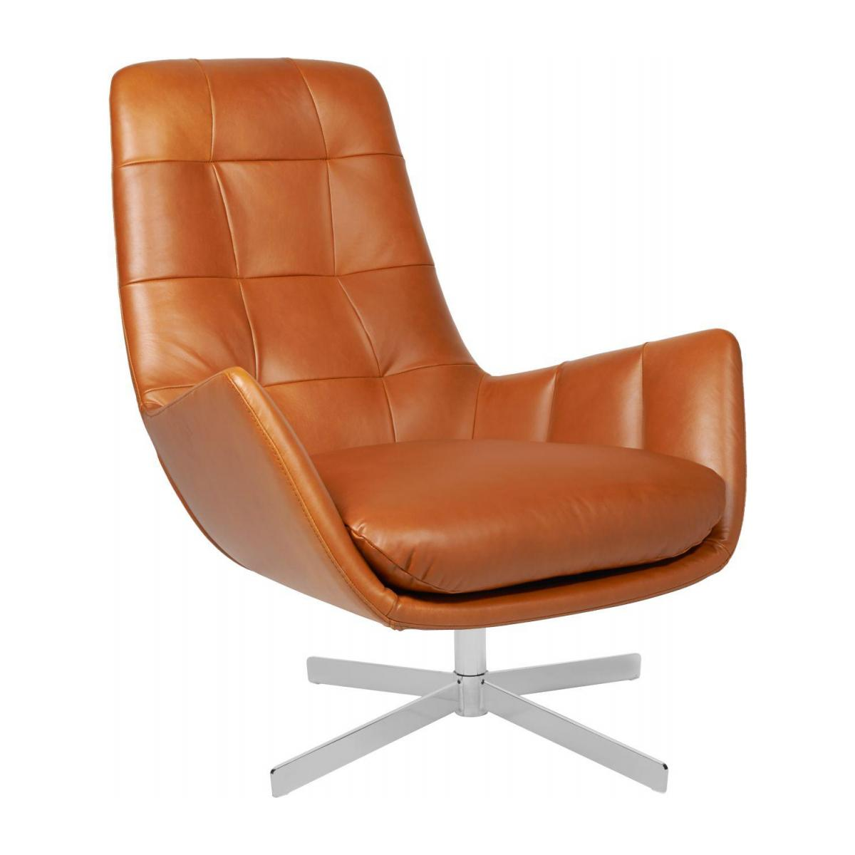 Armchair in Vintage aniline leather, old Chestnut with metal cross leg n°1