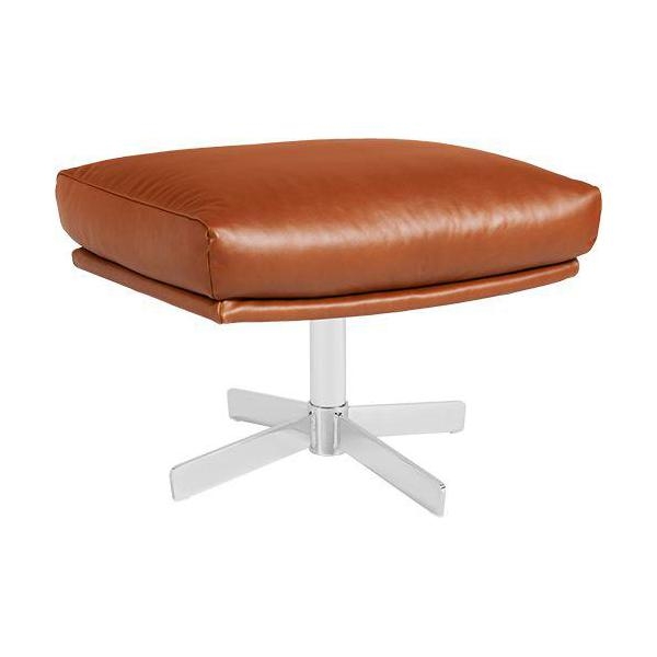 Footstool in aniline Vintage Leather, old chestnut with metal cross leg n°1
