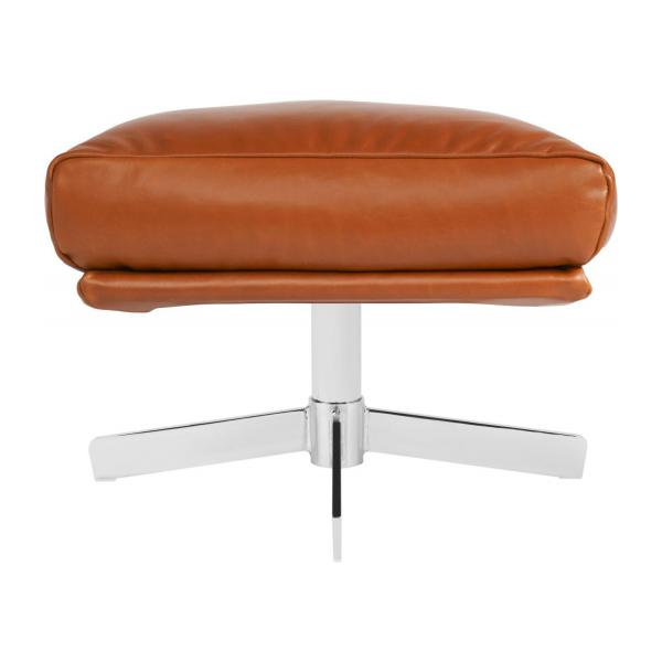 Footstool in aniline Vintage Leather, old chestnut with metal cross leg n°2
