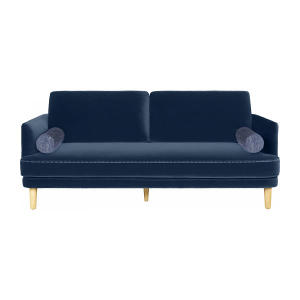 arrolo 3 sitzer sofa aus samt blau habitat. Black Bedroom Furniture Sets. Home Design Ideas