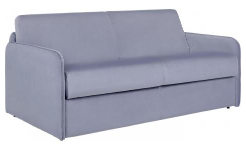 Grey velvet 3 seat fold-out sofa
