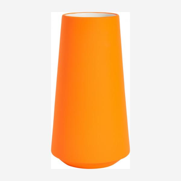 Vase made of ceramic, fluorescent orange
