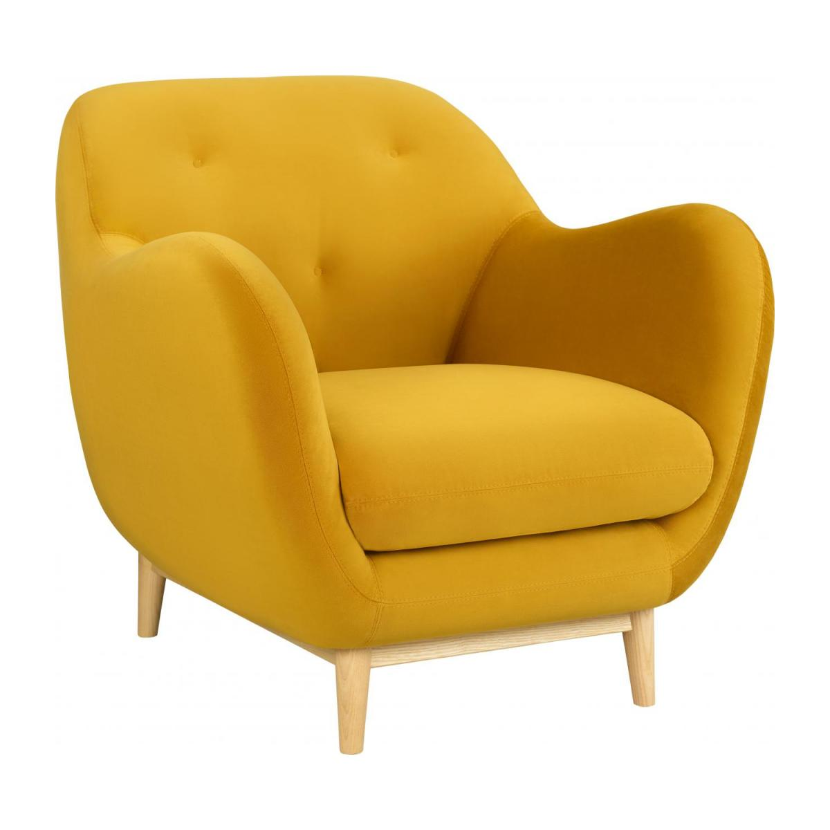 Armchair made of velvet moutarde n°1
