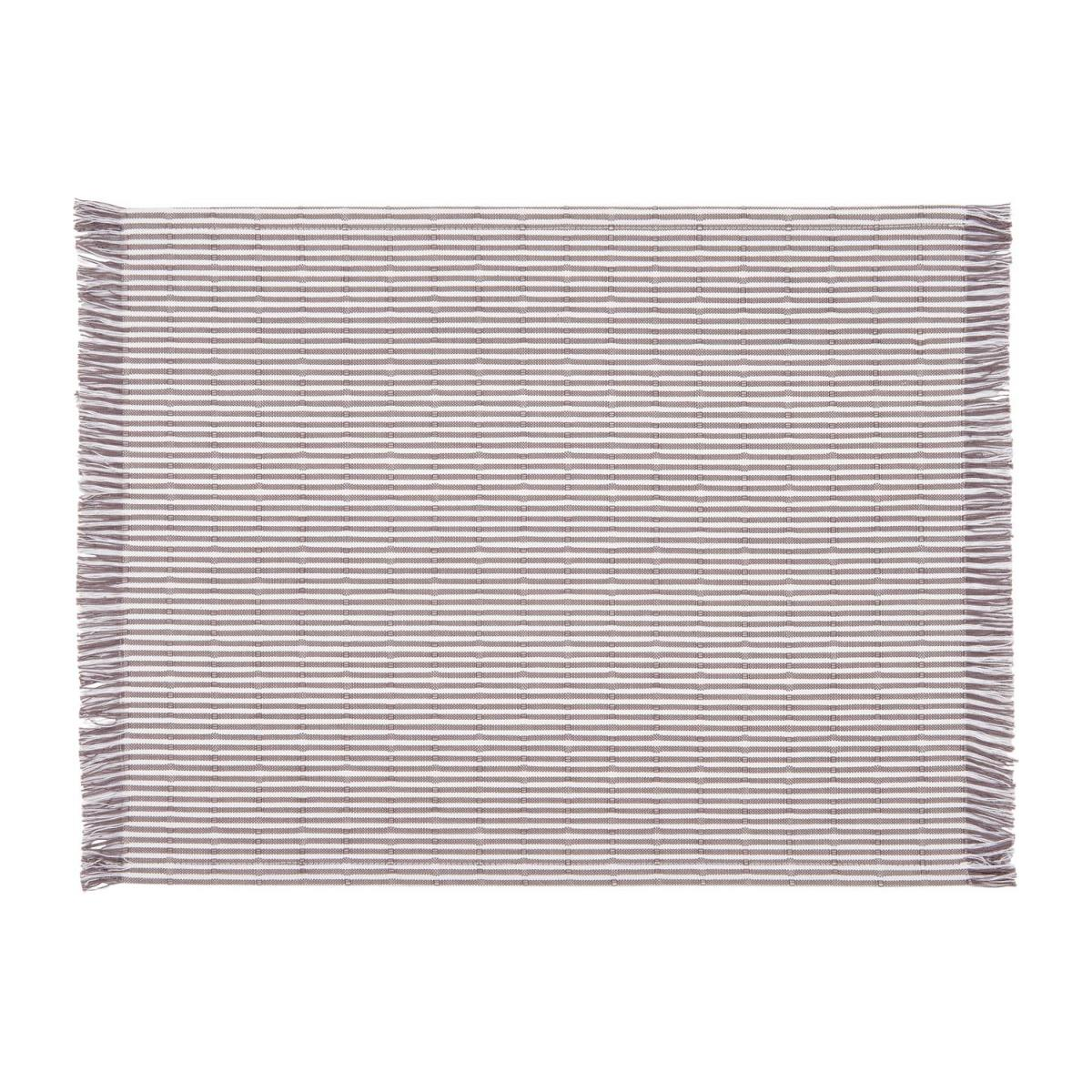 Placemat with stripes made of cotton 30x40cm, red &, brownish-grey n°1