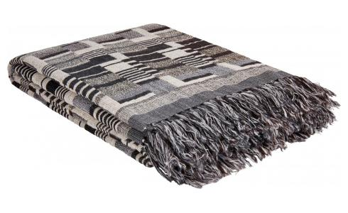 Hand woven throw made of wool and silk, black and white