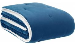 Bedspread made of velvet, blue
