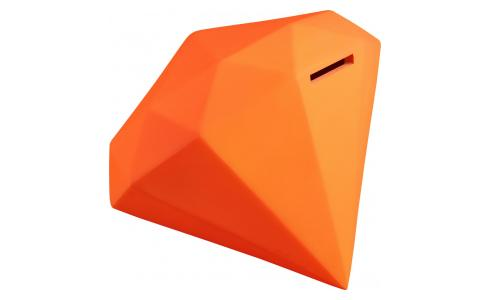 Tirelire diamant orange fluo