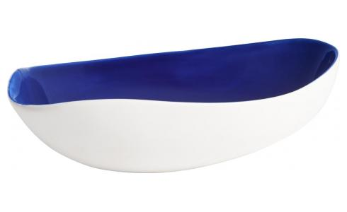 Trinket bowl made of ceramic, white and blue