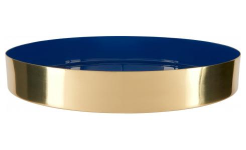 Decorative tray made of metal, blue and golden